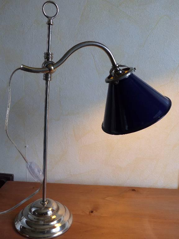 No- 262- Lampe d'atelier en fer et laiton chromé . | Puces Privées