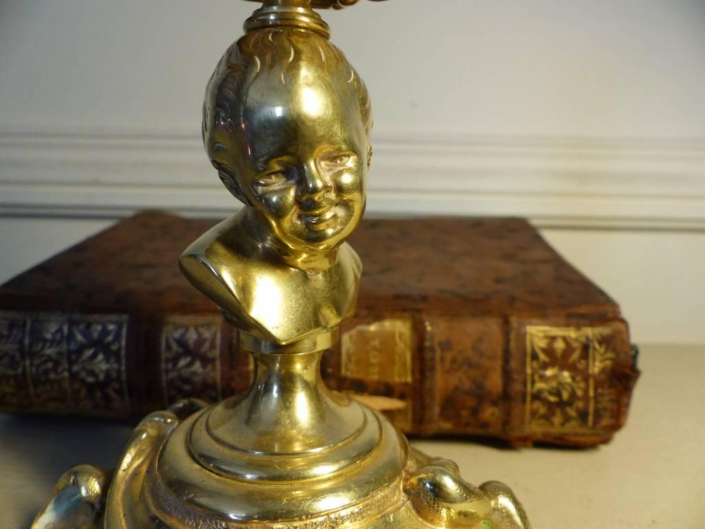 No - 258 - Bougeoirs de style Louis xv , très beau buste d'enfant par Susse frères fondeur . | Puces Privées