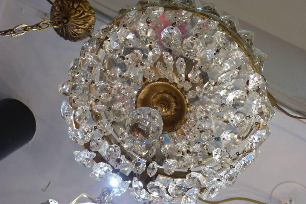 Plafonnier / Lustre 2 LumiÈres Pampilles Cristal   Puces Privées