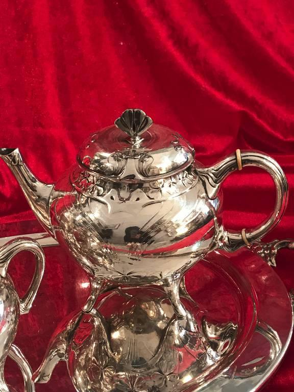 CHRISTOFLE GALLIA / SUPERBE SERVICE THE ET CAFE METAL ARGENTE ART NOUVEAU TREFLE | Puces Privées