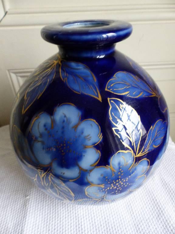No - 271 - Vase boule Camille Tharaud Limoges France , décor floral . | Puces Privées