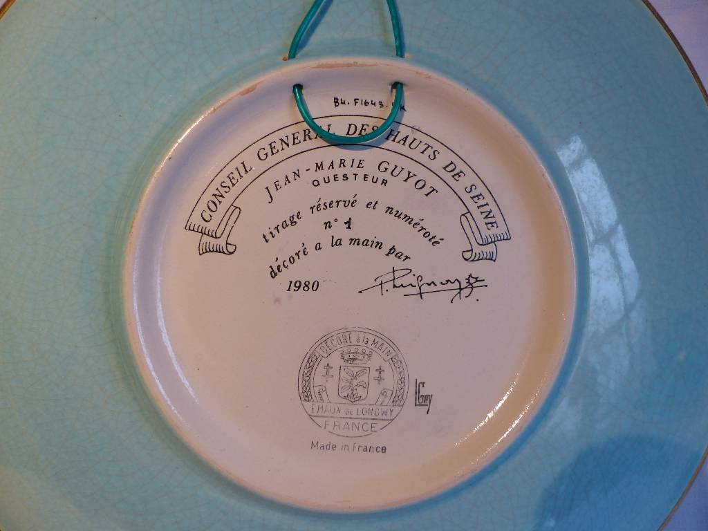 No - 286 - Grand plat de Longwy  Paul  Mignon , tirage réservé et numéroté no 1 | Puces Privées
