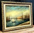 ROBERT MOGISSE (1933), « Venise levé du soleil sur le le Canal », Huile sur toile signée en bas à gauche | Puces Privées