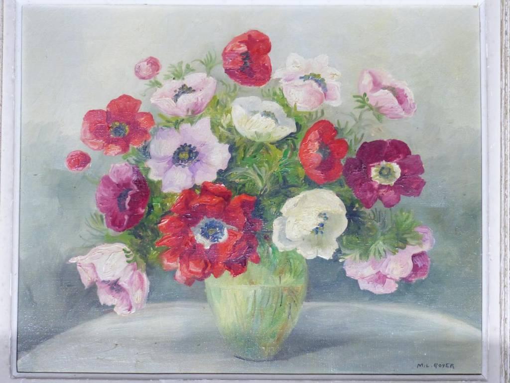 Debut XX éme Art Nouveau Tableau Huile Sur Toile Bouquet Fleurs Pensees | Puces Privées