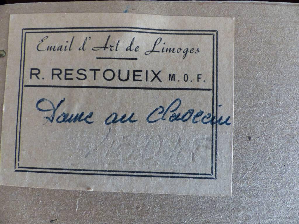 No -328 - Dame au clavecin , émail de Limoges de Restoueix  René , meilleur ouvrier de France 1955  . | Puces Privées