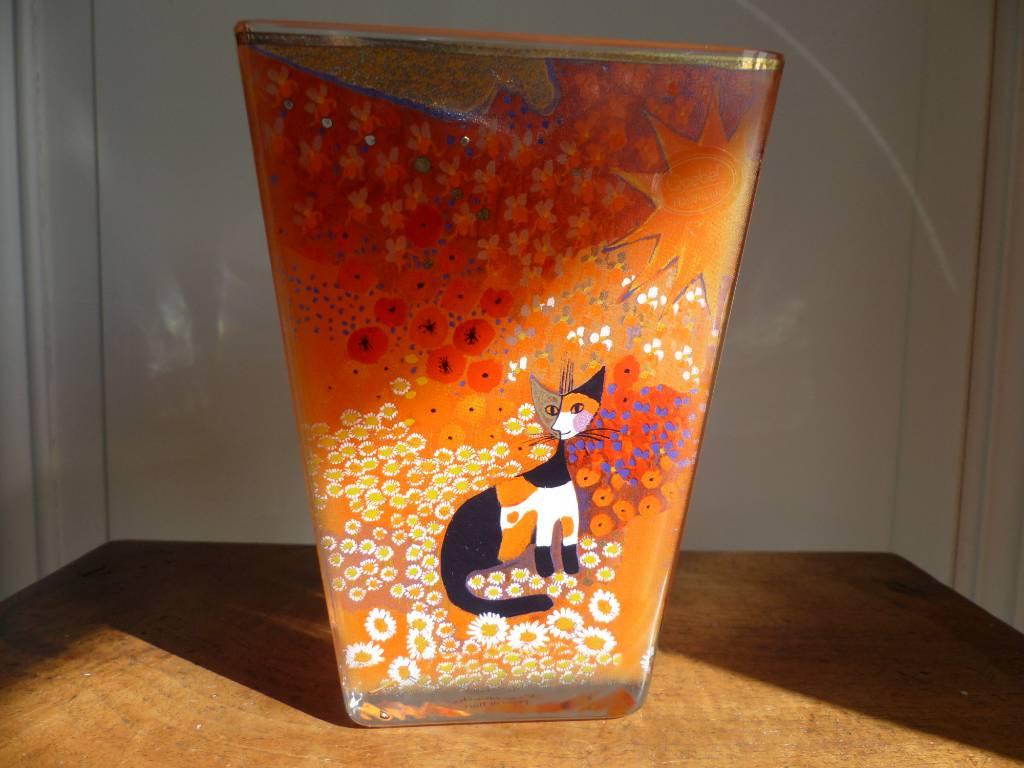 No - 329 - Vase à décors de chats par Rosina  Wachtmeister peintre | Puces Privées