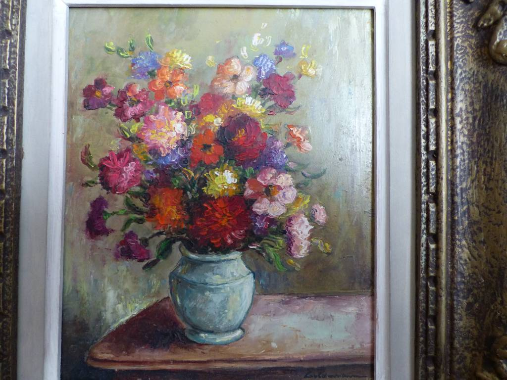 No -331 - Bouquet de fleurs sur panneau par Guldemann Georges  1908 - 1978 | Puces Privées