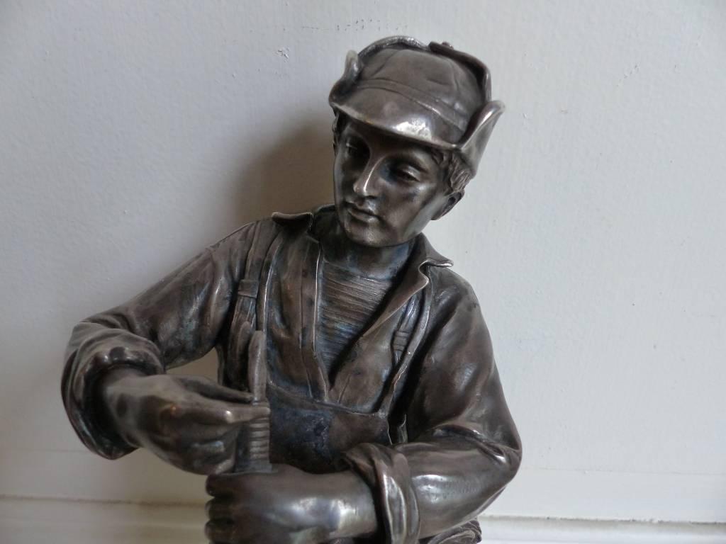 No - 338 - Bronze argenté sur un socle en marbre griotte par Christofle et Cie numéro  2335099 | Puces Privées