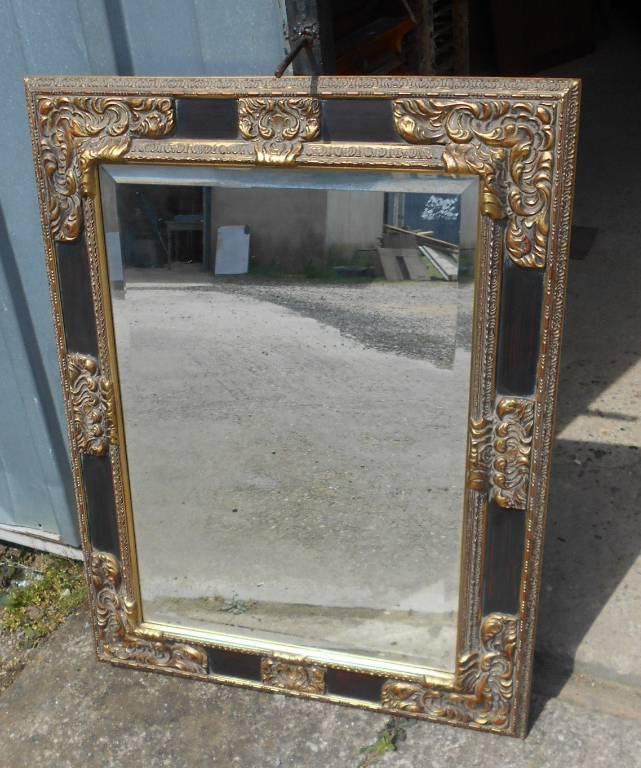 Grand miroir noir et or | Puces Privées