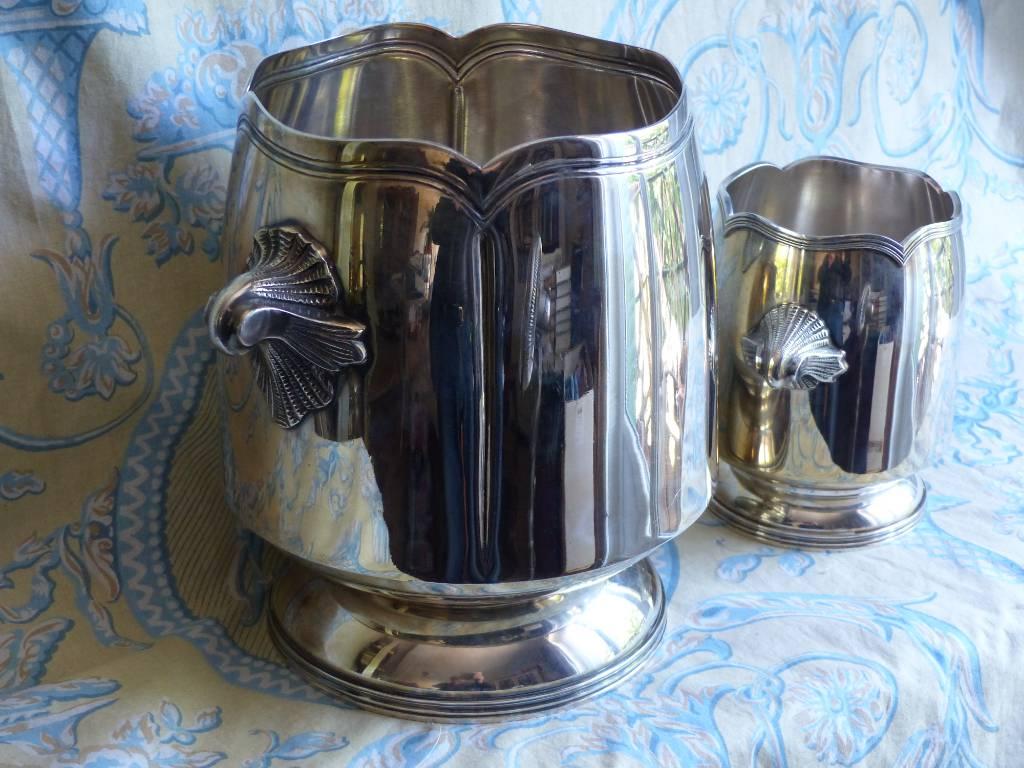 No - 343 - Ensemble seau à champagne et seau à glace en métal argenté | Puces Privées