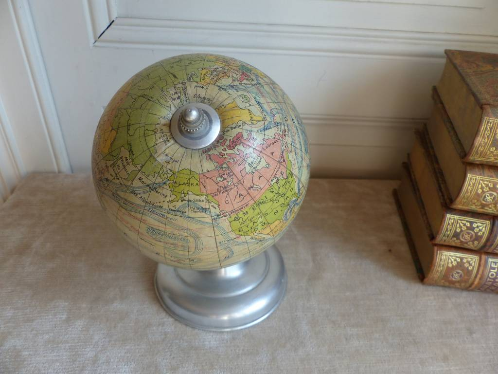 No - 353 - Ancien globe terrestre cartes Taride  Paris, aluminium et carton année 1950 environ | Puces Privées