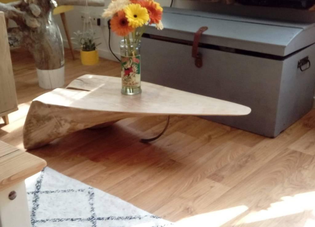 Table basse en hêtre massif | Puces Privées