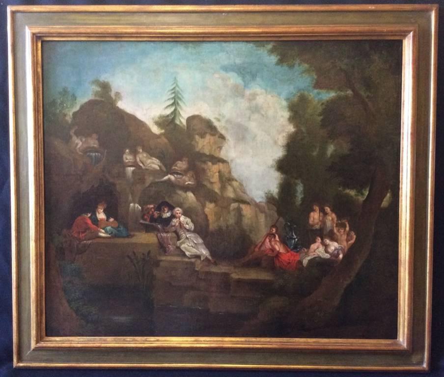 Fête vénitienne galante XVIII dans le goût de Watteau anonyme Rococo Louis XIV   Puces Privées