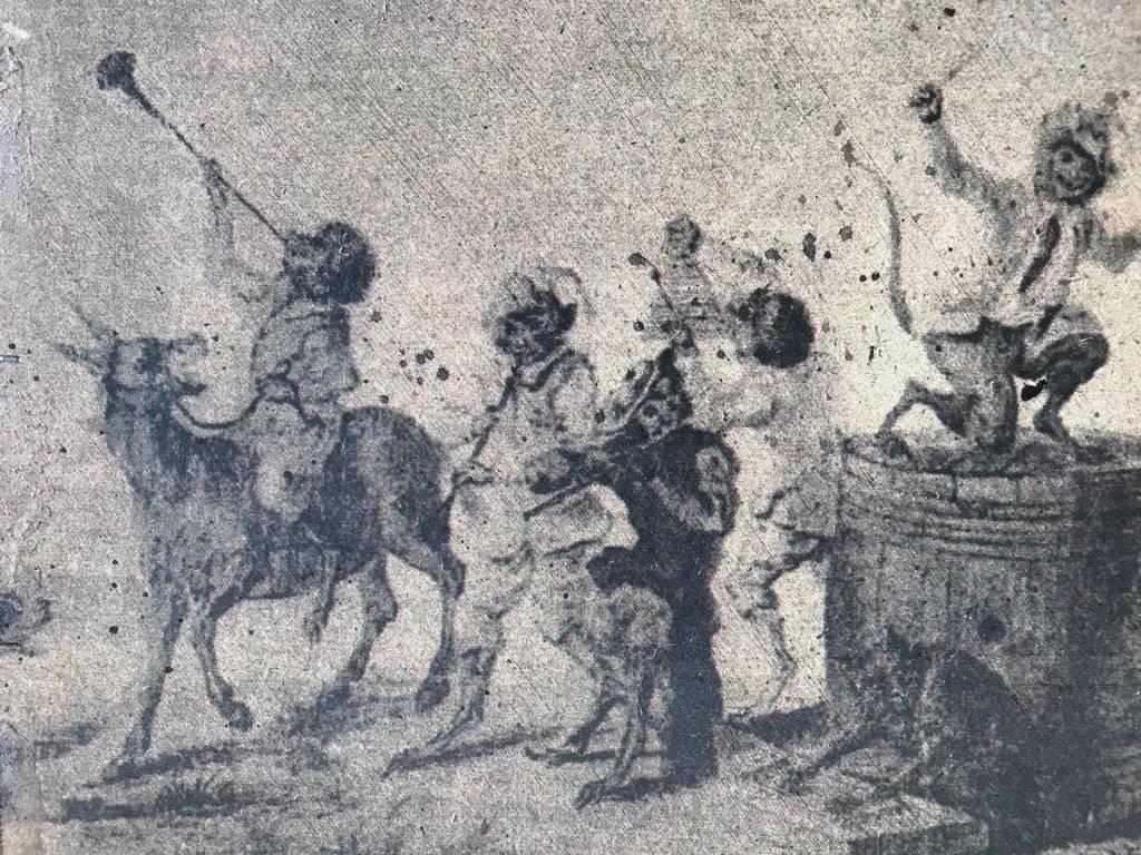 Grotesque musicien fin XVII ou XVIII panneau trumeau découpé Pointillisme | Puces Privées