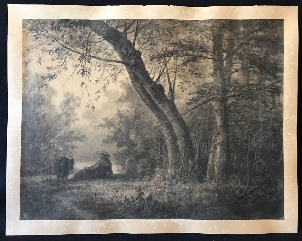 Louis Noirot (1820-1902) Grand fusain fixé berger et chèvre 57 cm par 43,5 cm | Puces Privées