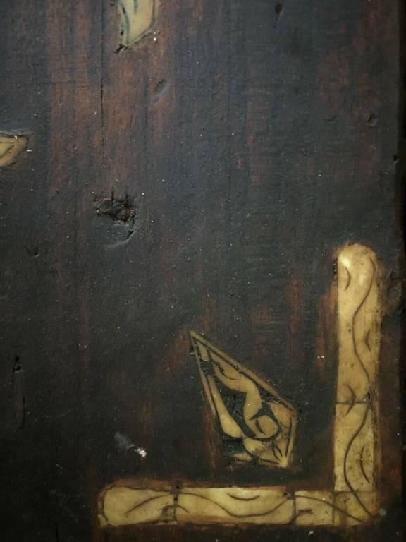 Porte coffre Copte pièce ancienne bois et os Croix Egypte 47cm par 34 cm | Puces Privées