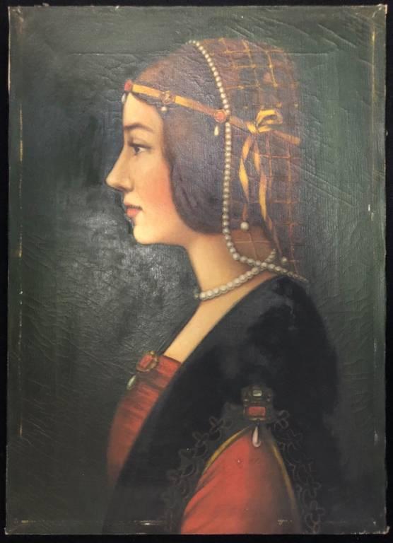 Léonard de Vinci Béatrice d'Este peinture sur toile Copie XXe Sforza Milano   Puces Privées