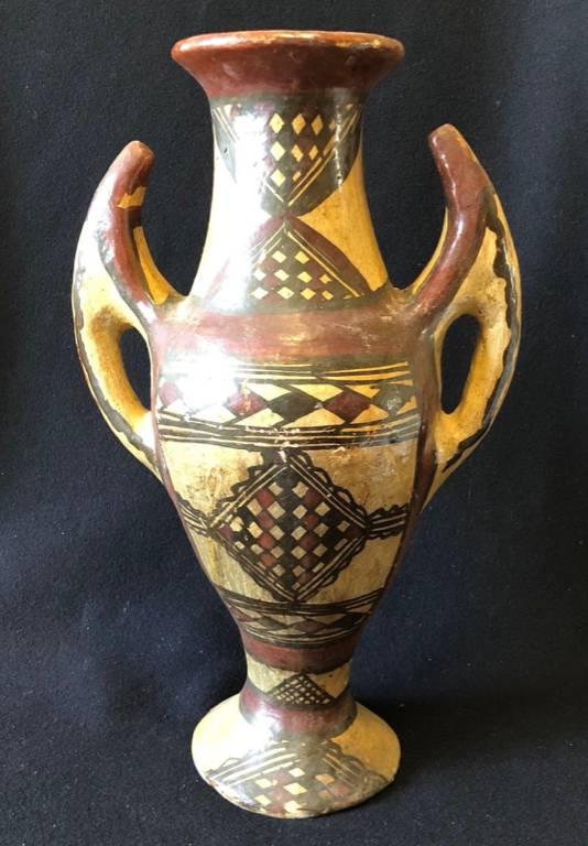 Céramique Berbère Jarre à pied tekelit terre cuite peinte Grande Kabylie Algérie | Puces Privées
