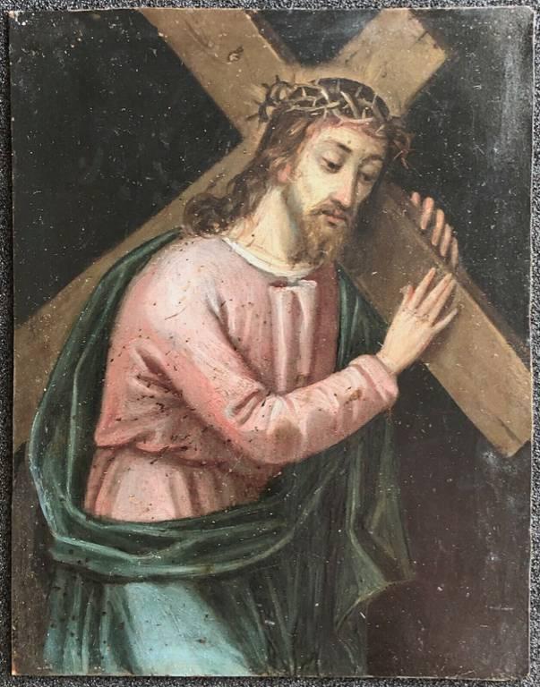 Le Christ portant la croix peinture sur cuivre XVII e Jésus anonyme ?   Puces Privées