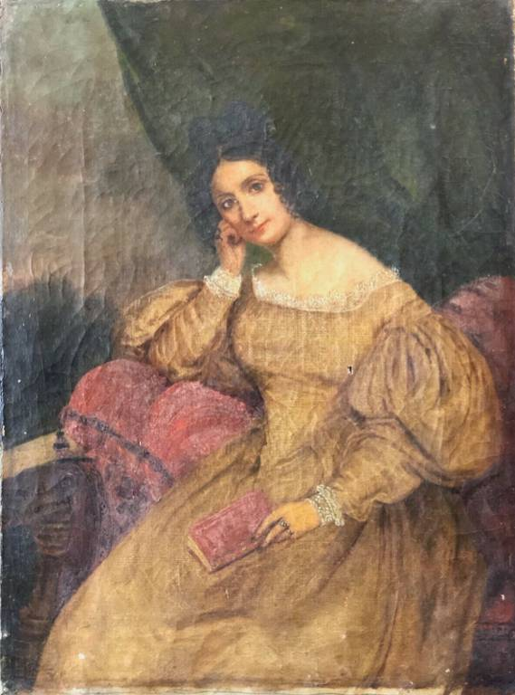 FRILET DE CHATEAUNEUF 1807-1874 portrait de jeune femme HST c 1835 Angers   Puces Privées