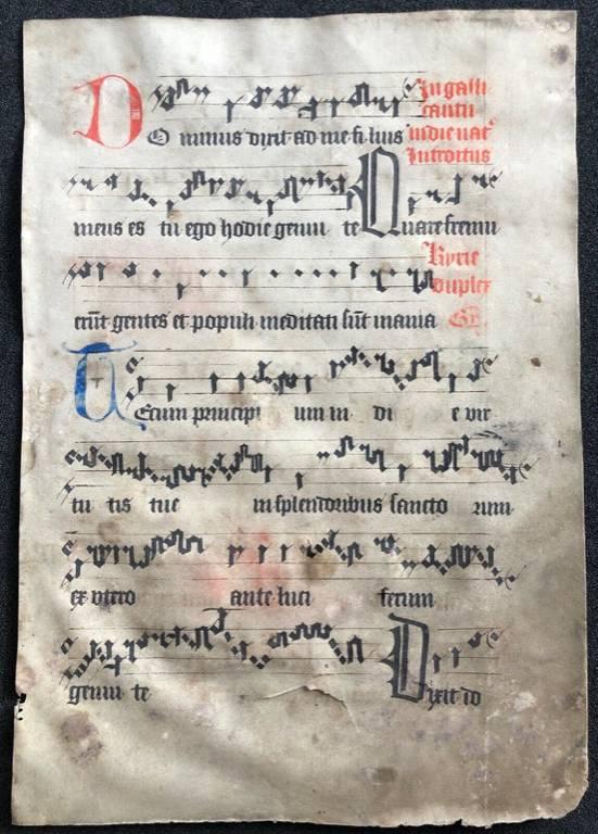 Partition musique manuscrite parchemin Moyen Âge VENTE EN FRANCE UNIQUEMENT ., | Puces Privées