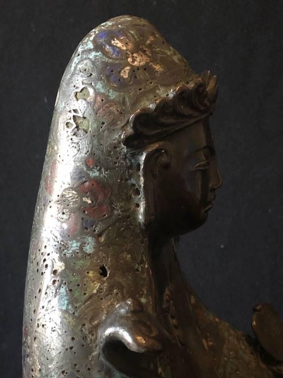 Tibet bronze cloisonné manjuist samantabhadra Kwan-yin Bodhisattva Guanin XIXe | Puces Privées