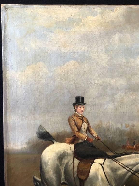 Ecole anglaise écuyère anonyme vers 1875 XIXe Cheval Chevaux XIXe équitation | Puces Privées