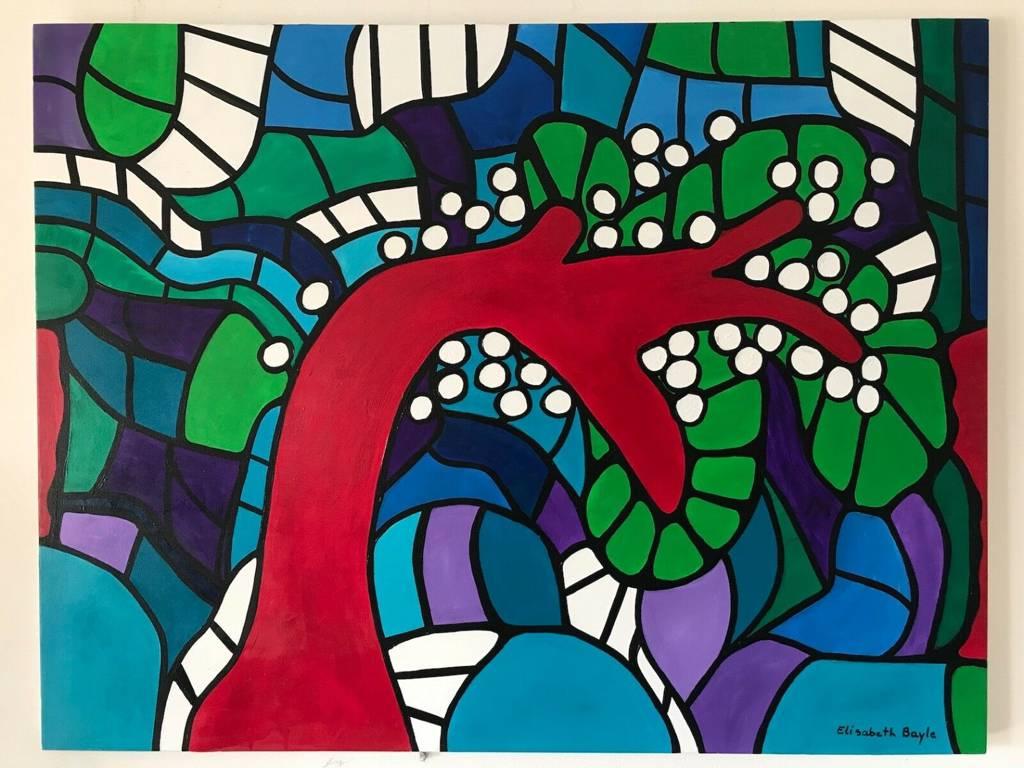 Elisabeth Bayle Expressionnisme abstrait grande Peinture 115,5 cm par 88,5 cm | Puces Privées