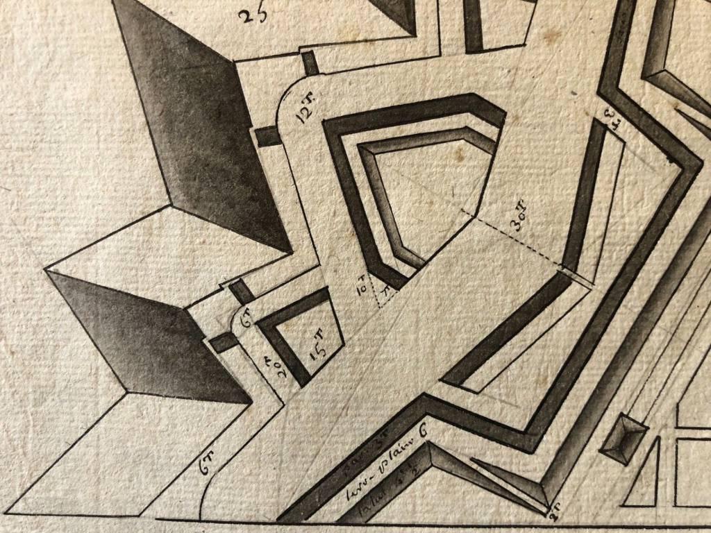 Plan lavis d'encre d'une fortification dans le goût de Vauban XVIIe architecture | Puces Privées