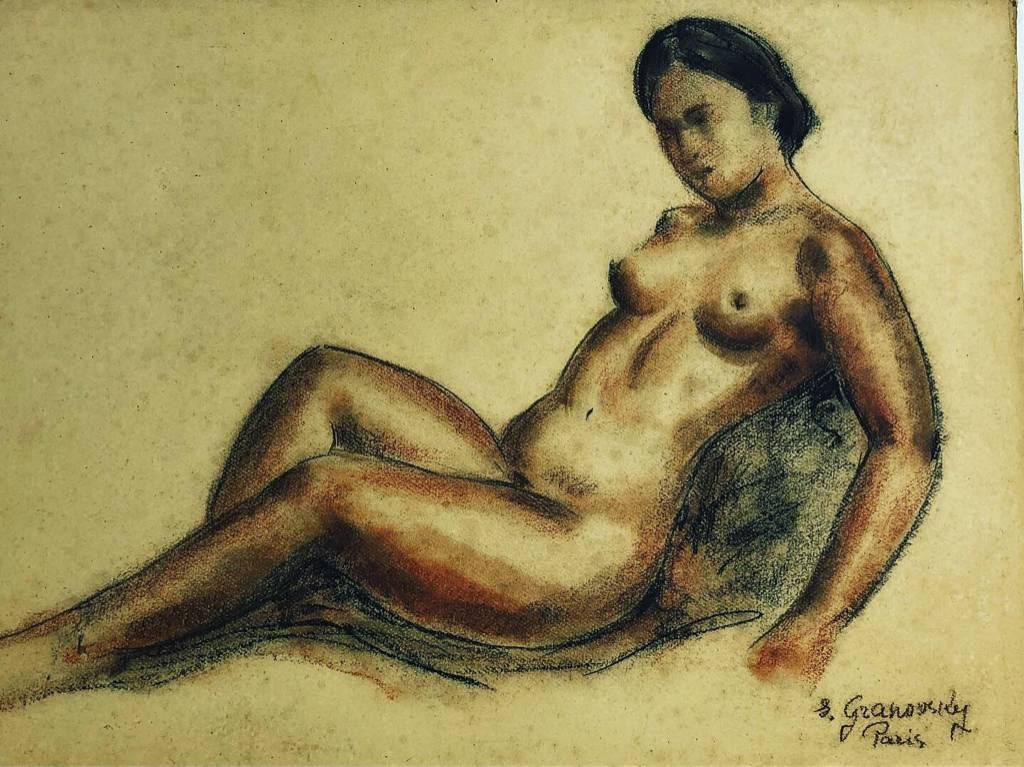 SAM GRANOVSKY 1889- 1942 NU DE FEMME AU FUSAIN sur carton .62 cm x 47 cm | Puces Privées