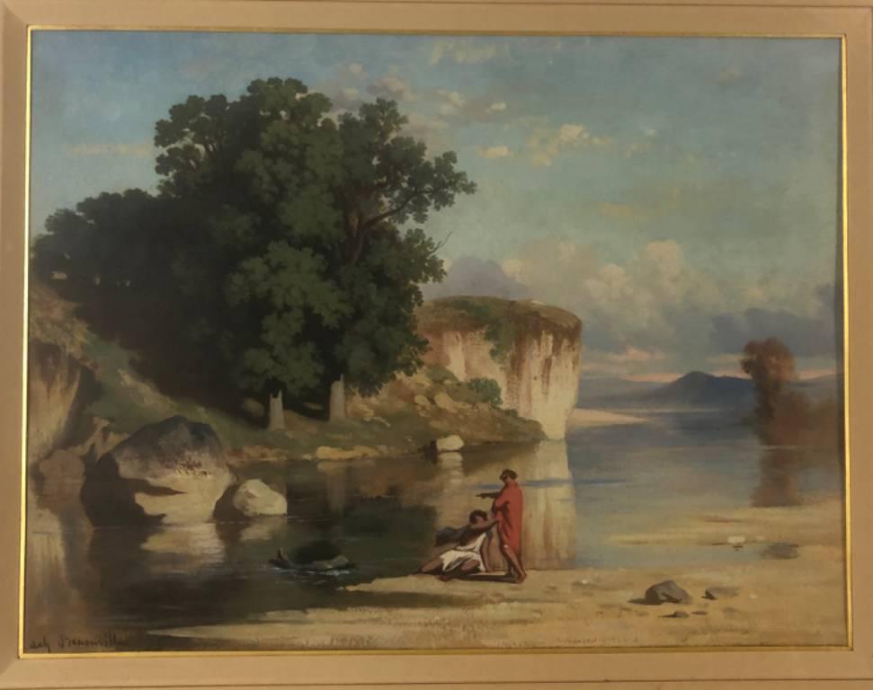 ACHILLE BENOUVILLE 1815-1891 gouache, paysage d'Italie - XIXème siècle | Puces Privées