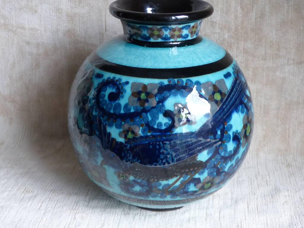 No - 391 -  Vase au décor d'oiseaux Paul Jacquet  Annecy  Savoie  France   Puces Privées