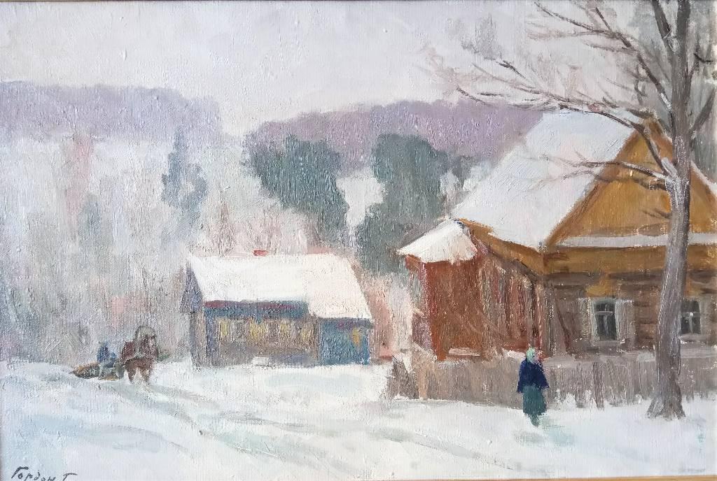 Traineau dans la neige et datcha, Huile sur toile de G. GORDON (1909- ?) vers 1940, cadre argenté | Puces Privées