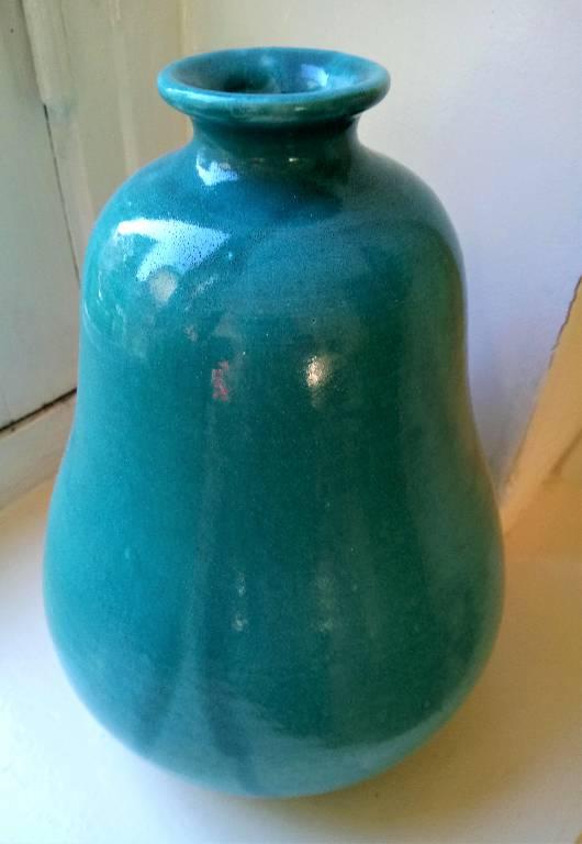 Vase  pansu en céramique turquoise, signé Primavera et numéroté, années 50 | Puces Privées