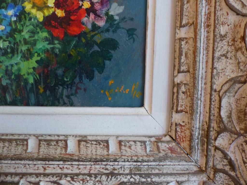 No - 419 - Tableau bouquet de fleurs huile sur panneau époque  XXème | Puces Privées