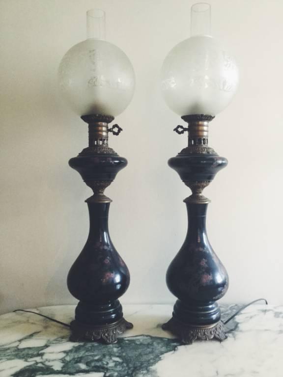 Paire lampe pétrole   Puces Privées