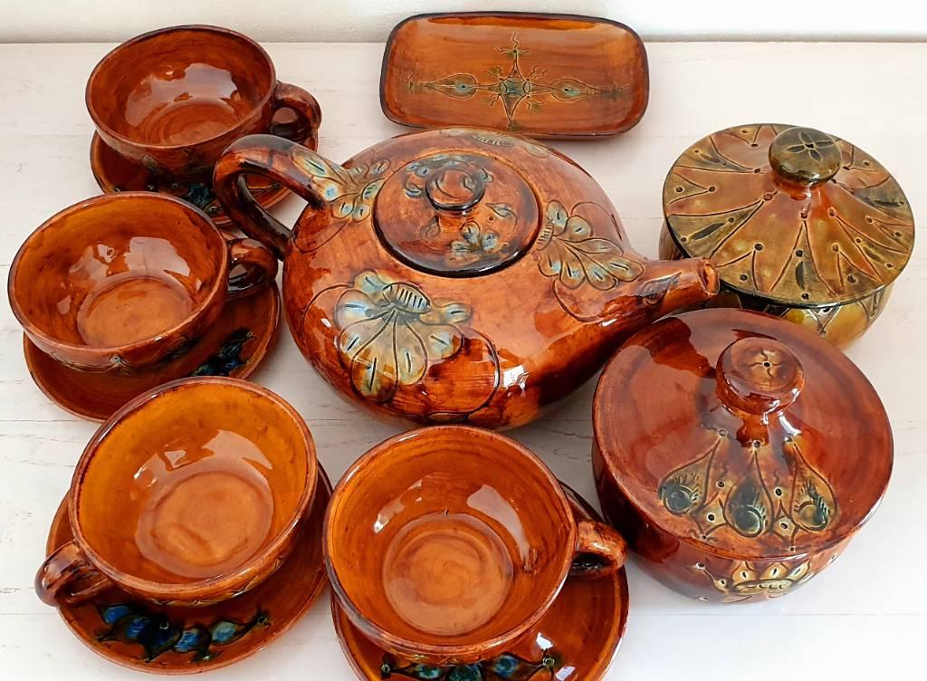 SERVICE à THé Céramique provençale 12 pièces signé Lanusé   Puces Privées