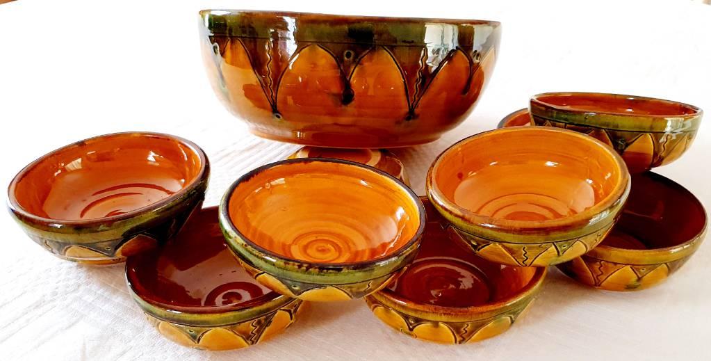 SERVICE à SALADE DE FRUITS Céramique provençale 11 pièces signé Lanusé | Puces Privées