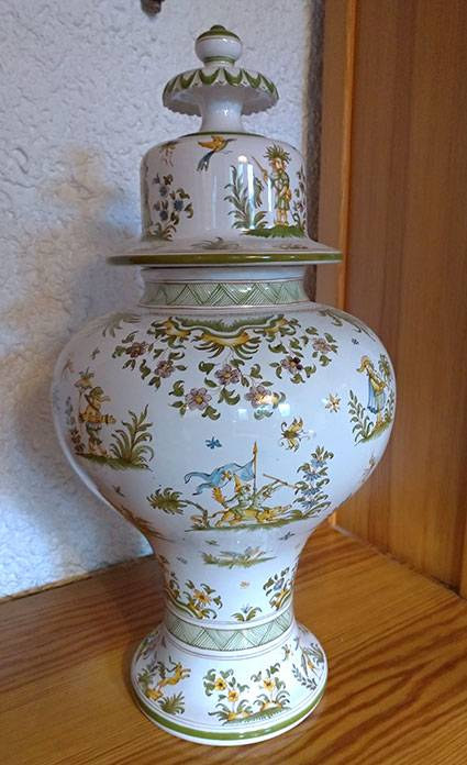 Grand pot décoré Lallier Moustiers | Puces Privées
