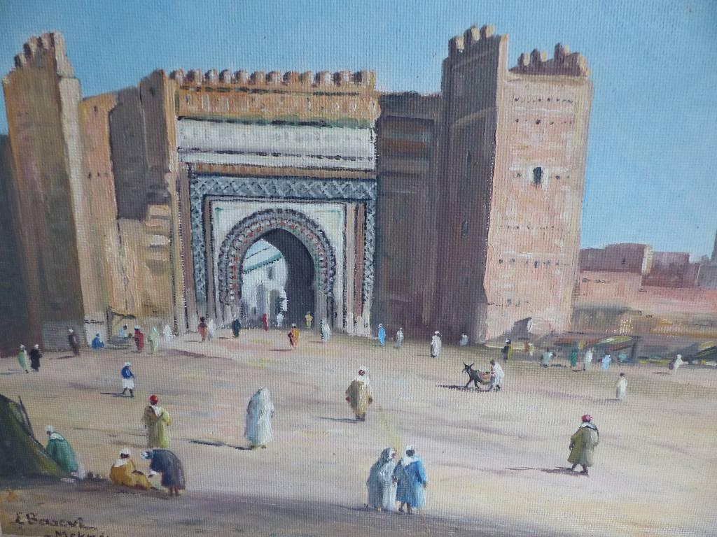No - 426 - Tableau orientaliste la porte Bab Al Khemis à Meknès Maroc | Puces Privées