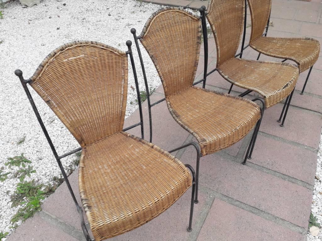 Chaises vintage fer et osier | Puces Privées