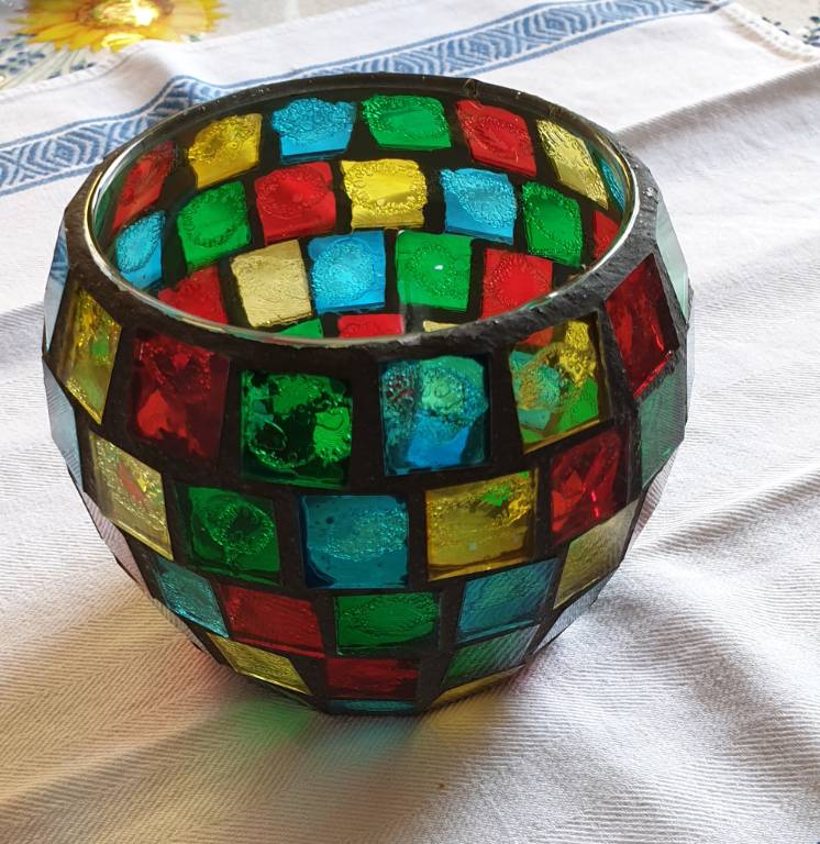 #13 - photophore en verre coloré   Puces Privées