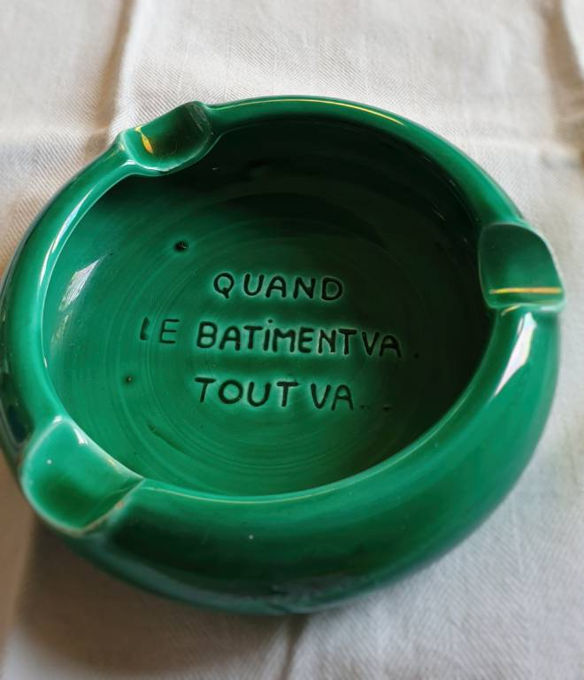 #17 - cendrier vert vintage   Puces Privées