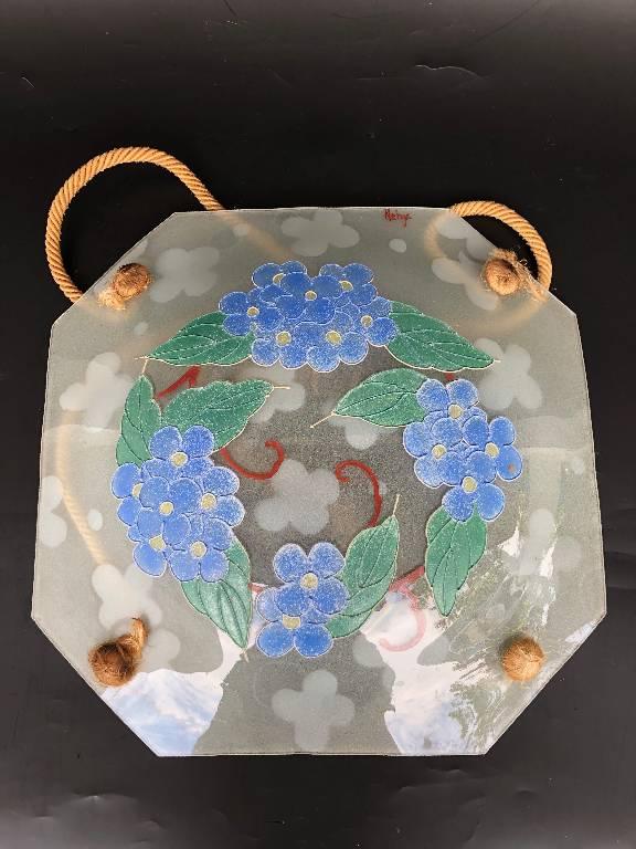 Ancienne suspension en verre art déco genre Loys Lucha | Puces Privées