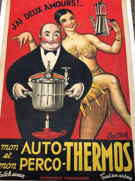 ANCIENNE AFFICHE ORIGINALE AUTOS THERMOS PAUL MOHR JOSEPHINE BAKER ENTOILÉE | Puces Privées