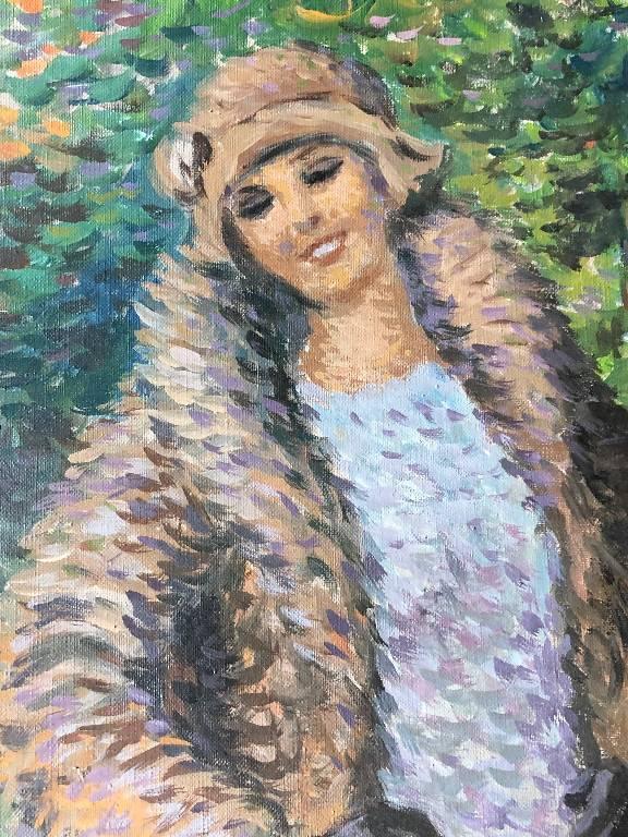 Rare Portrait Pointilliste Signé René Decamp - Femme à l'écureuil   Puces Privées