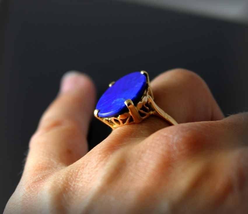 Bague or , lapis lazuli | Puces Privées
