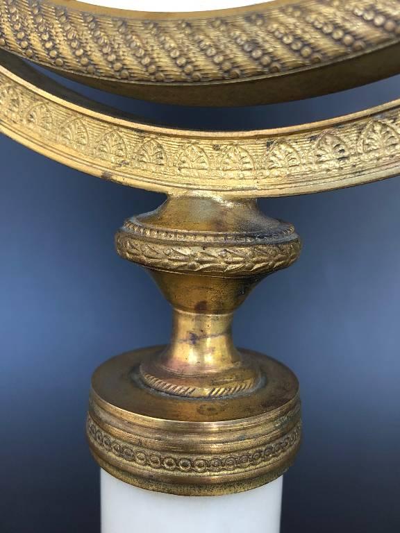 ANCIEN MIROIR DE TABLE EPOQUE EMPIRE RESTAURATION BRONZE DORÉ ET MARBRE 19th   Puces Privées