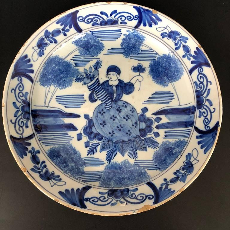 ANCIENNE ASSIETTE DECOR AU CHINOIS FAIENCE DE DELFT EPOQUE XVIIIème ???   Puces Privées