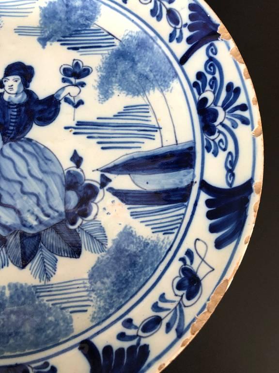 ANCIENNE ASSIETTE DECOR AU CHINOIS FAIENCE DE DELFT EPOQUE XVIIIème ??? n°2   Puces Privées